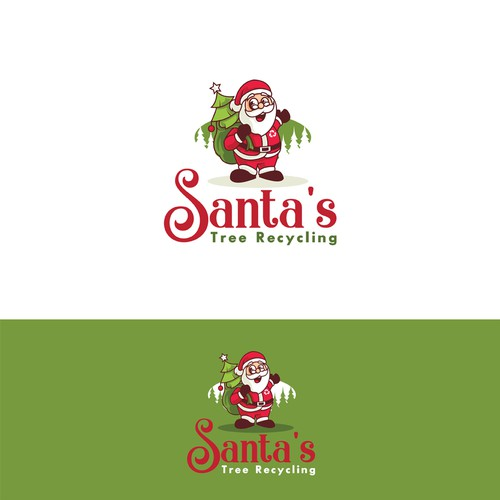 Santa Claus logo with the title 'Santa's Tree Recycling'