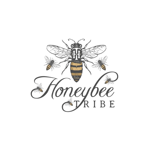 Honey bee logo with the title 'Vintage logo for honey products'