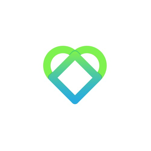 Blue and green logo with the title 'Heart Logo'