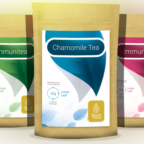 Photoshop design with the title 'Label design for a tea brand'