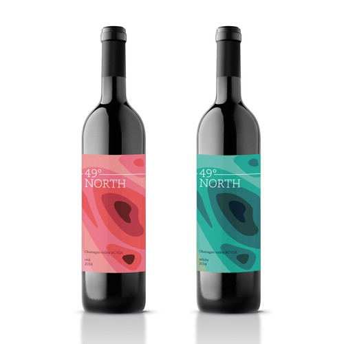 Map design with the title 'Wine label for 49° North'