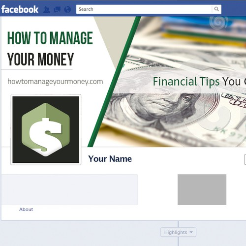 Save design with the title 'How to manage your money.com Facebook cover'