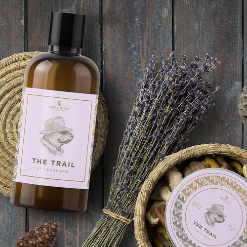 Exclusive design with the title 'Adventurous otter for The Trail aftershave and shave soap'