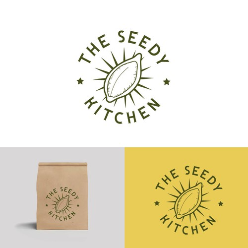 Pumpkin logo with the title 'Logo design for seed based snacks company.'