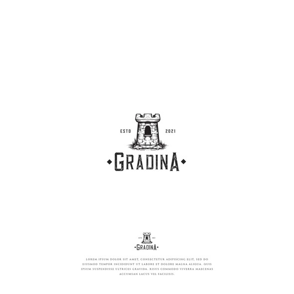 Alcohol design with the title 'Gradina'