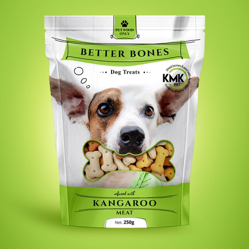 Dog food packaging with the title 'Pet treat package design'