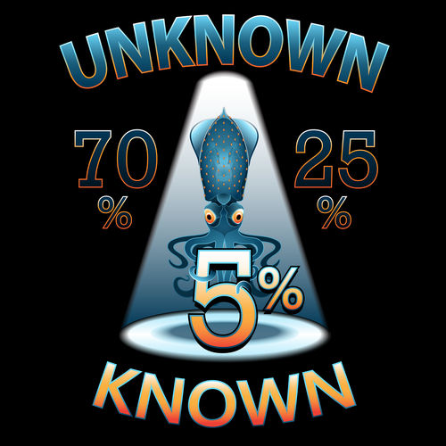 Universe t-shirt with the title 'Tshirt Design to represent unknown knowledge of the universe'