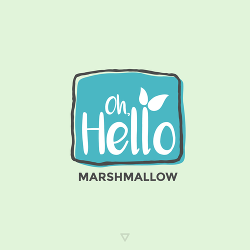 Blue and green logo with the title 'Artisanal Marshmallow Shop Logo'