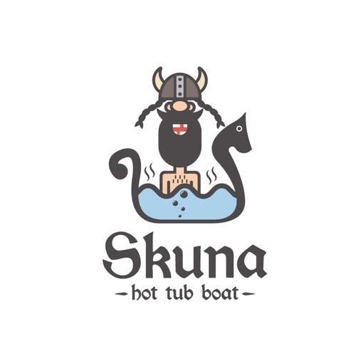 Bathtub logo with the title 'Skuna - hot tub boat'