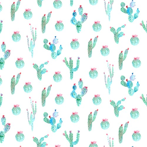 Seamless artwork with the title 'Seamless pattern of watercolor cactuses'