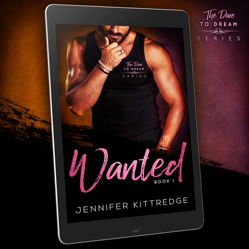 Paperback book cover with the title '- WANTED -Jennifer Kittredge -  Contemporary romance by Emily's World of Design'