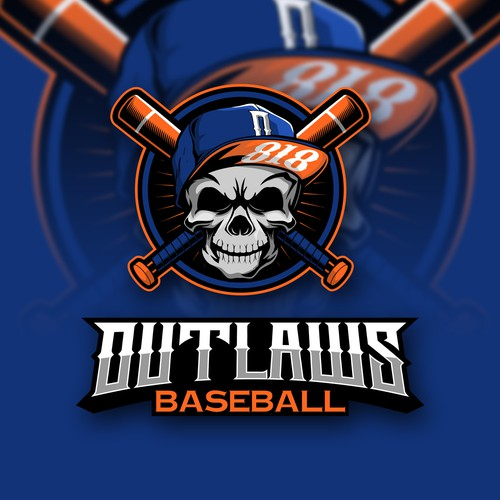Baseball logo with the title 'SKULL WITH CROSS BASEBALL BAT CHARACTER'