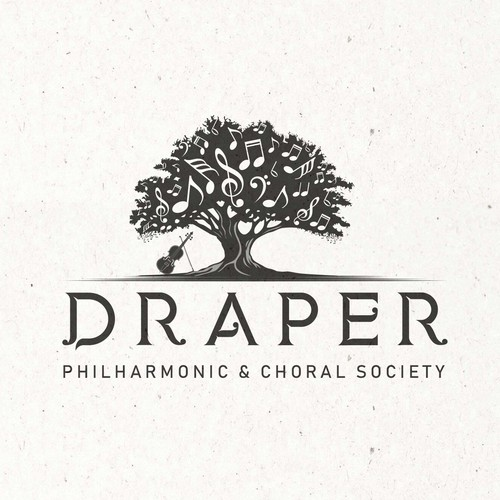 Music note logo with the title 'DRAPER gathers musicians for professional musical experience'