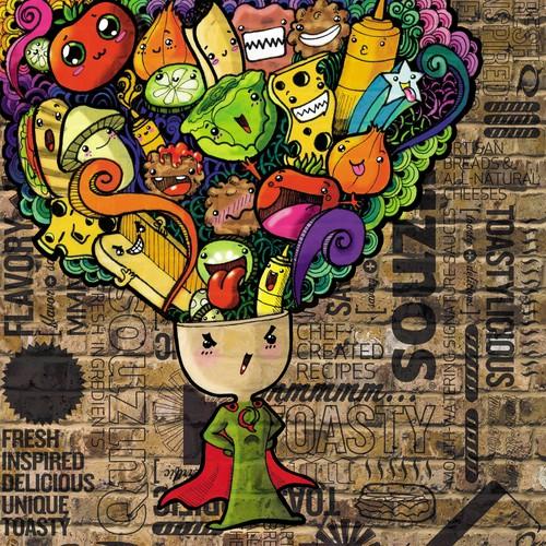 Graffiti artwork with the title 'Quiznos calendar illustration.'