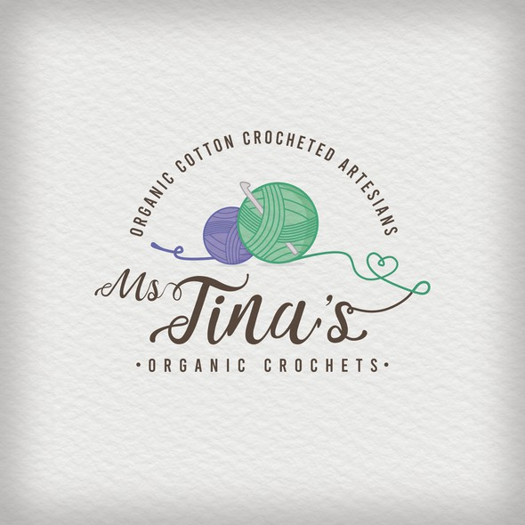 Crochet logo with the title 'Ms. Tina's Organic Crochets'