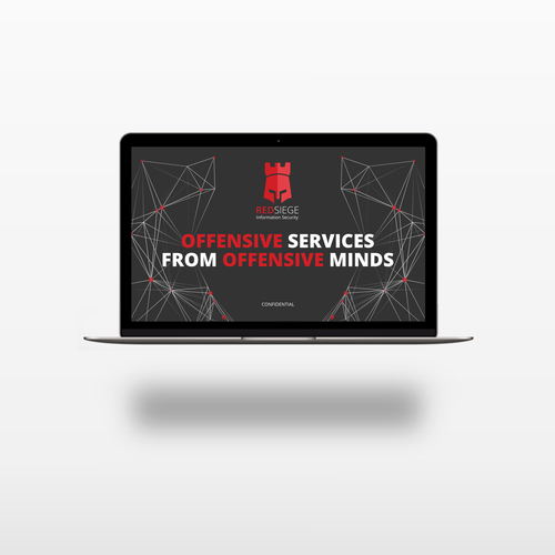 Dramatic design with the title 'Bold PowerPoint Template for a Cyber Security Firm'