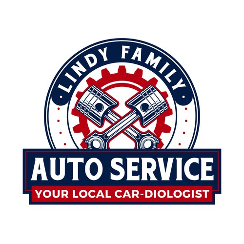Gear design with the title 'Lindy Family Auto Service'