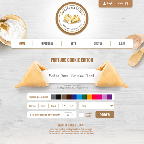 Culinary design with the title 'Custom Cookie Website'