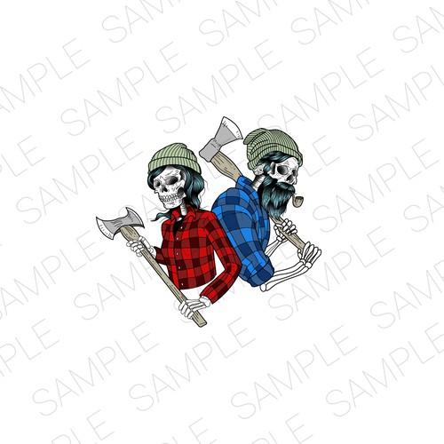 Lumberjack design with the title 'Lumberjack couple illustration'