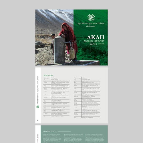 Report design with the title 'Annual Report Kabul 2020'