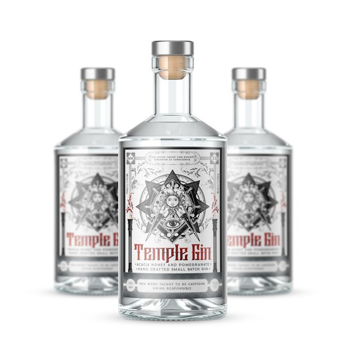 Gin design with the title 'Temple gin'