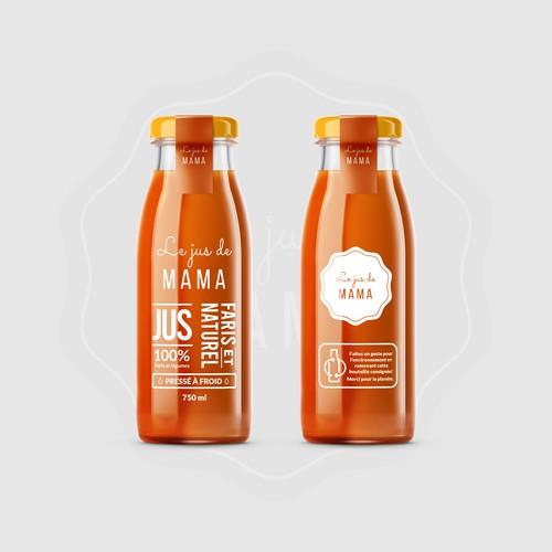 Juice label with the title 'Juice label design'