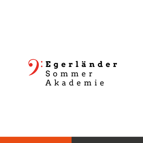 Brass logo with the title 'Logo Konzept Egerländer Sommerakademie'
