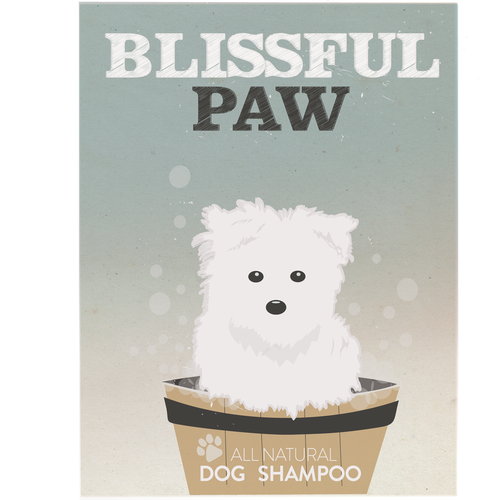Dog label with the title 'Create a vintage label for all-natural dog shampoo/conditioner'