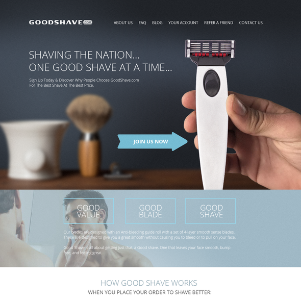 Shaving design with the title 'Goodshave.com'