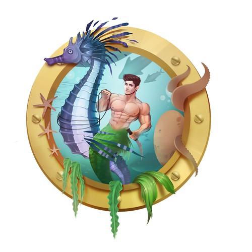 Mermaid illustration with the title 'Mermain Illustration'