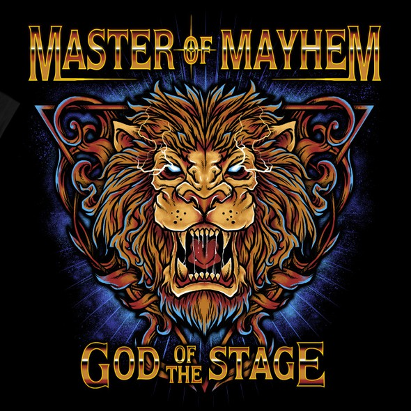 Heavy metal design with the title 'Master of Mayhem, God of the Stage'
