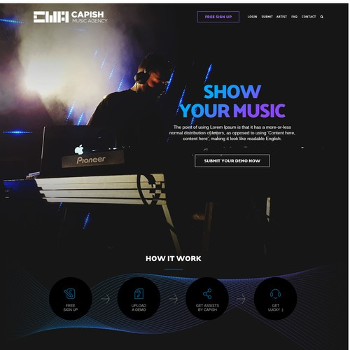 Art website with the title 'Capish Music Agency'