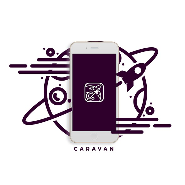 UX and UI logo with the title 'Logo concept for Caravan APP'
