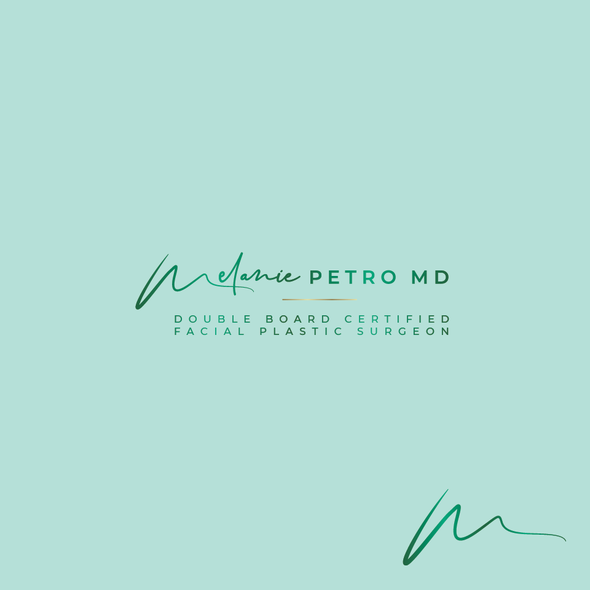 Plastic surgeon logo with the title 'Melanie Petro MD'