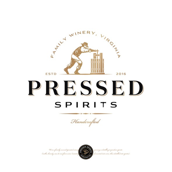 Vine design with the title 'Pressed Spirits distilling co'