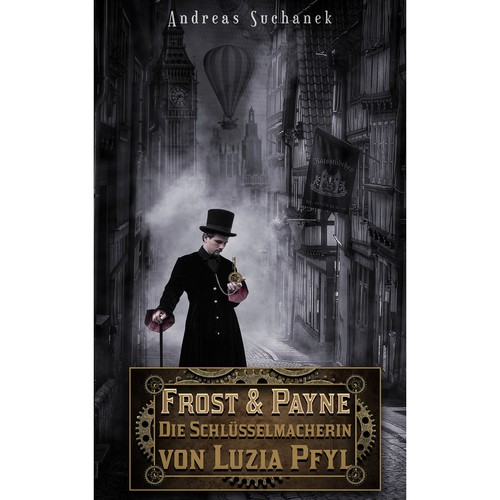 Steampunk book cover with the title 'Book cover design.'