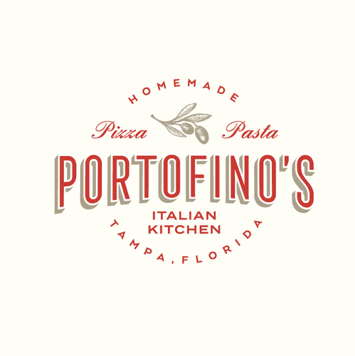 Red design with the title 'Portofino's Italian Kitchen'