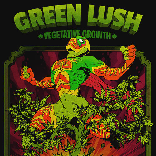 "Label artwork with the title '""Green Lush"" label design'"
