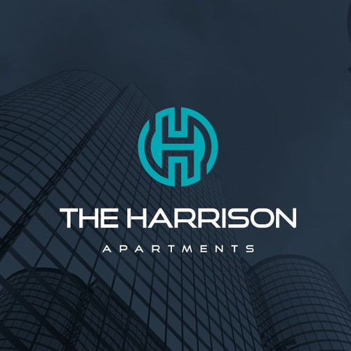 Apartment design with the title 'The Harrison Apartments'
