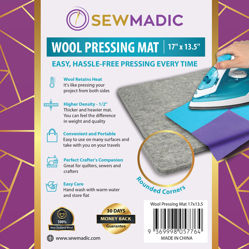 Sticker label with the title 'Wool Pressing Mat Sticker Design'