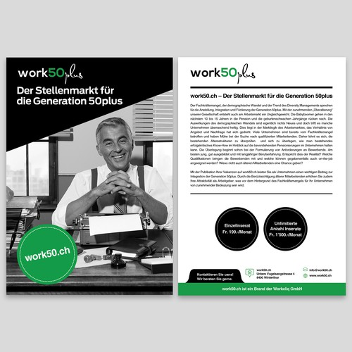 Print ad design with the title 'Work50plus'