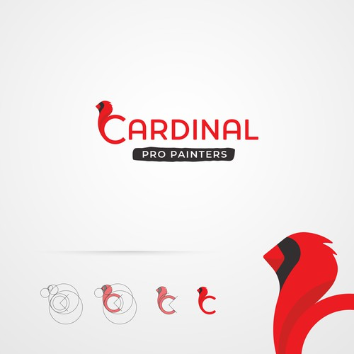 Wing logo with the title 'Cardinal Bird Logo Inspired Professional Painters Service'