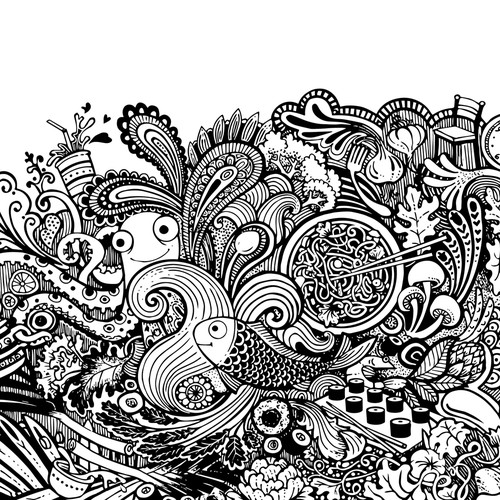 Octopus design with the title 'Big Doodle Story'