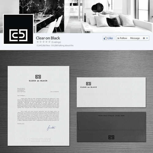 Interior design brand with the title 'ClearOnBlack'