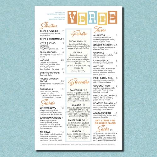 Western design with the title 'Verde Restaurant Menu'
