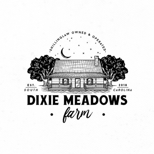 Oak tree logo with the title 'Dixie Meadows Farm Logo'