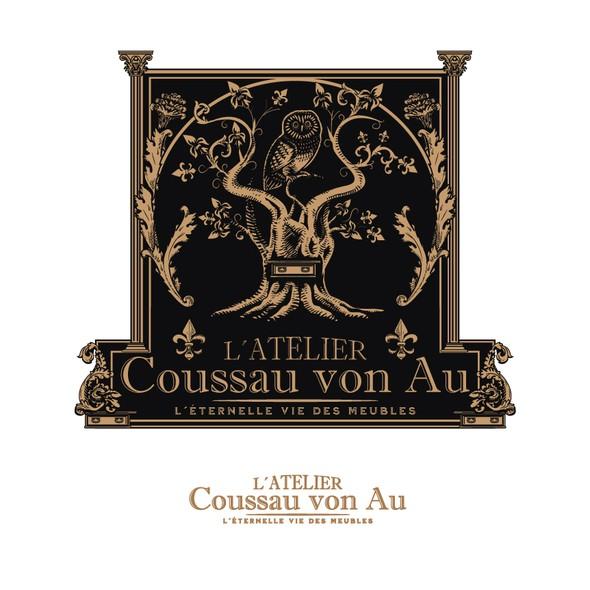 Wood logo with the title 'Atelier Cousseau von Au'