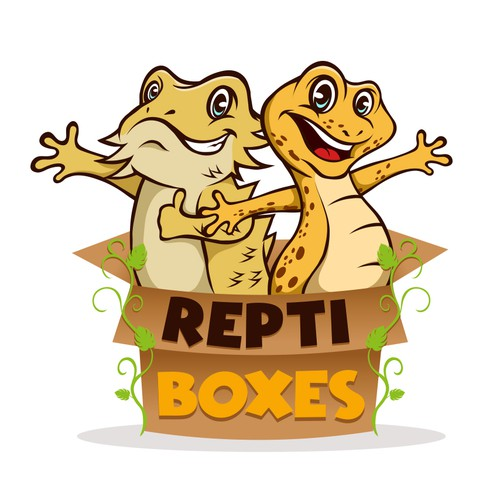 Reptile design with the title 'ReptiBoxes'