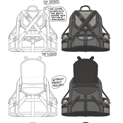 "Backpack design with the title '""Belts & Daggers"" Backpack'"