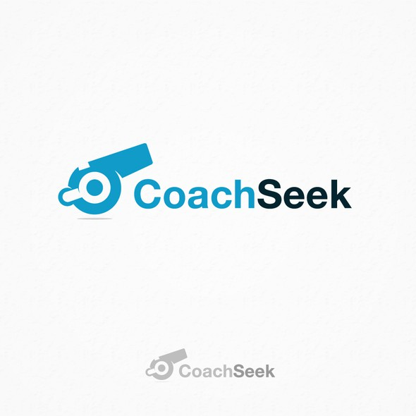 Whistle design with the title 'Coach Seek - Logo Design'